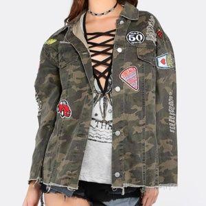 SHEIN 36.5 Distressed Camo Patchwork Jacket